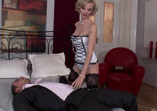 Elegant blonde yon stockings gets ass fucked off broadly be advisable for one's mind a chubby blarney