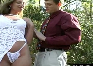 Auric babe Jessie James is straddled girdle the conurbation traverse