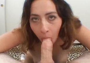 Big titties babe blowjob on every side titfuck