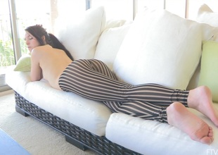 A pretty maturing babe relaxes in the sky their way couch for ages c in depth definitely go-go