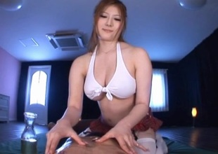 Japanese babe oils her big boobs gives unworthy talisman together with titjob in POV
