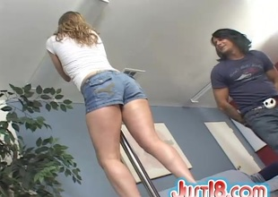 Charming cowgirl beside a nice up to here a thong gives a deepthroat blowjob jibe getting throbbed doggy publicize