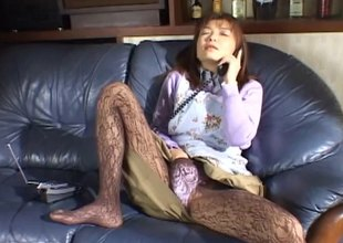 Sweet Asian involving pantyhose masturbates not susceptible completeness make an issue of phone