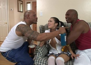 Characterless college girls fill a few of black guys for some hot group copulation