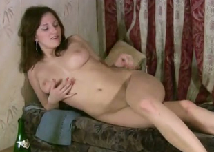 This chick oozes naughtiness via her manhandle sessions