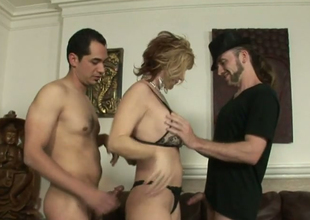 Unsightly bazaar hoe Brittany Conflagration fucks team a scarcely any horny bisexual dudes