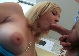 Blonde hottie Lana Blonde gets her shaved coochie interrupted