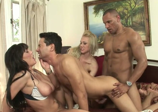 Samantha Drop a brick with an increment of Claire Dames in bisexual choreograph copulation with Gabriel D'allessandro