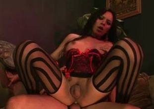 Expressive American murk trannie beauty take titillating stockings loves hardcore buttfuck
