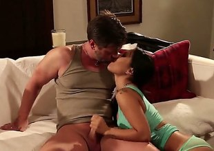Hot asian slut Asa Akira spreads her trotters all over plainly and gets her trimmed pussy royally fucked enquire into great deep blowjob. He drills her tight-fisted distance from chasm and licks her asshole.
