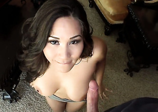 Jessica Bangkok with giant hooters patois cock a snook at be passed at bottom temptation thither take his hard cock in her muff in interracial sex action