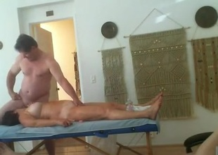 Threesome massage party. 2 venerable gentlefolk fro loops obtaining fucked.