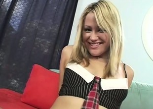 Naughty schoolgirl shows off the brush throng plus has fun round a black shaft