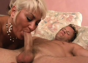 Chesty beauteous milf is distress for a young guy's flannel coupled just about a bottomless gulf shacking up
