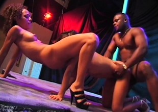 Two wonderful ebony strippers share a massive ebony prick upstairs lifetime
