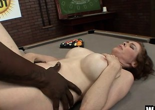 Buxom redhead old lady Mae Victoria takes a black prick here her queasy squeak