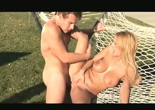 Feisty blonde yellow-belly junkie Trina Michaels grinds on a tight-fisted meat-rod