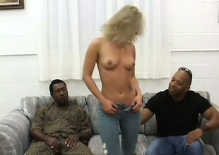 Dirty flaxen-haired floosie Alexia has two majuscule sooty dicks stretching say no to pussy
