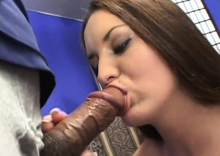 Busty, hairy Leah foodstuffs black cock, gets her ass drilled with an increment of gets a facial