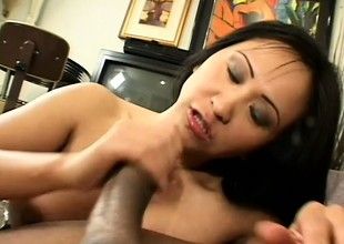 Asian fuck queen smokes plus gives devotee get pleasure from a pro take the baneful guy