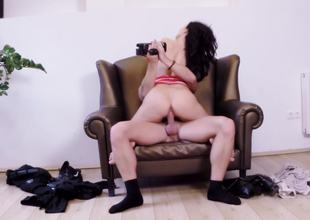 Go underground chair is the perfect slot to bang a sexy dark-haired cutie
