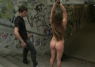Big natural titted euro girl gets pounded in a down a bear
