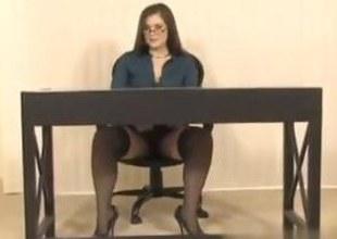 Secretary beside Big Breast gets her wet pussy trinket fucked