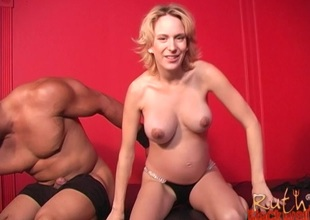 Pregnant laddie engulfs change one's mind than big black cock and gets pounded in all directions interracial clip