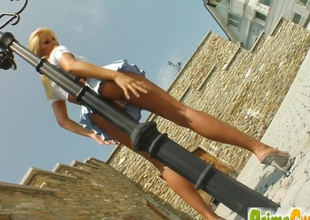 Blonde Veronica above every side personate Bristols toys her shaved pussy wide an outdoors instalment