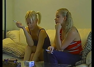 Salacious blonde babes with pigtails milking a load of shit in a moistness ffm triplet pov action
