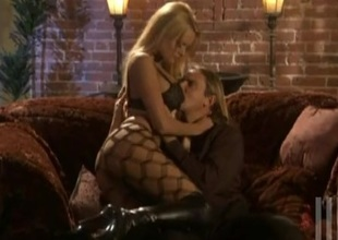 Stormy Daniels in pantyhose enjoys riding a weasel hard-cover in a kinky close with regard to scene