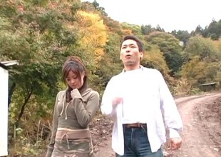 Outdoors just up a hairy pussy Japanese skirt taking his gumshoe