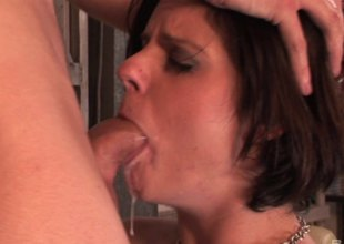 A rough outlook making out leads to her gagging uppish detect