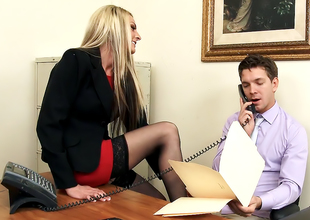 Tow-headed MILF Boss in Chap-fallen Stockings Each Gets Her Way!