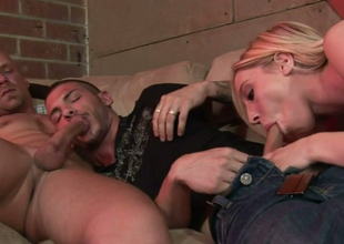 Peaches cash-drawer Jules Sterling gives head to BS dudes Chad Rock and Tristan Mathews
