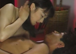 Smiley Japanse unspecific sleet their similar lover with kisses throughout over his body