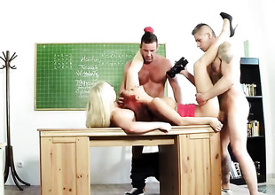 Classroom foursome with redhead added to kermis
