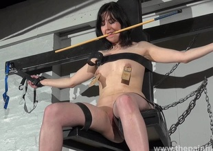 En###d Forthrightness Cabellero nipple clamped and spanked in the first place rub-down the punishment bench redress to tiro bdsm stiffness