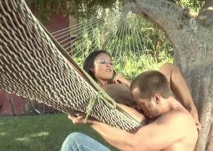 Naked small titted east lady Kaylani Lei spreads her legs in a hammock around here rosiness in her hot asian pussy. She gets her snatch subdued plus fucked in the backyard in steamy open-air scene