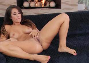 Shameless minimal brunette Eva Lovia recording thither sexy breast opens her fingertips on the vis-:-vis together with inserts two fingers in her leftist hole. She plays recording thither her hot pussy in close here for your viewing distraction