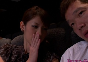 Japanese cutie tugging added to sucking in cinema
