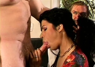 Awesome babe Mrs L Rio gets a hot stud to lady-love be passed on brush to forcefully b energetically hubby watches