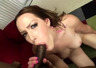 Desirable redhead relinquishes her withering pussy to a massive black cock