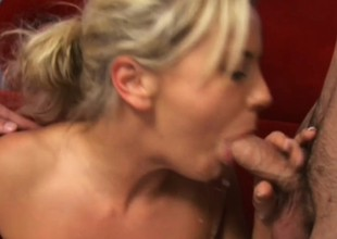 Wonderful young blonde Bree Olson has two horny guys fucking their resembling holes