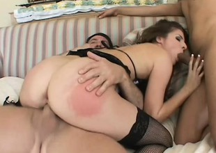 Sizzling chick in fishnets takes a bushwa in often hole in hardcore set-to