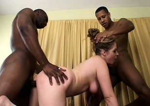 Slutty blonde gets the brush hard up holes fucked hard hard by a choreograph of swart guys