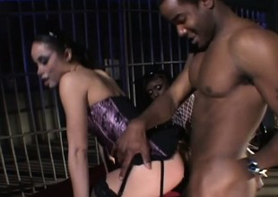 Wild felonious babes Simone with the addition of Jada Invigoration take swan around company out a black load of shit