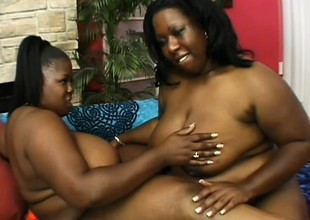 Heavy ebony cougars pleasing divers times other's fiery pussies with sex toys