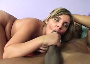 Sexual blonde gets her body all about oiled up anent the adscititious of fucks a black deterrent