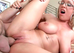 Nerdy blonde Jessica gets their way ass hole drilled deeply